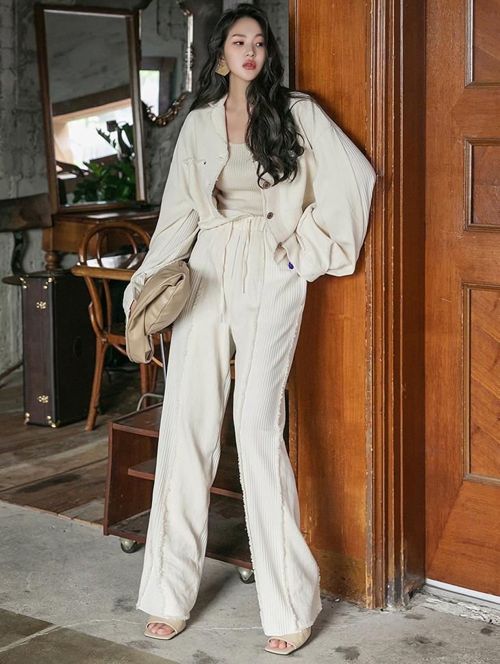 TP1289 流苏百褶点缀大口袋夹克两件式套装组合*组合 5%*