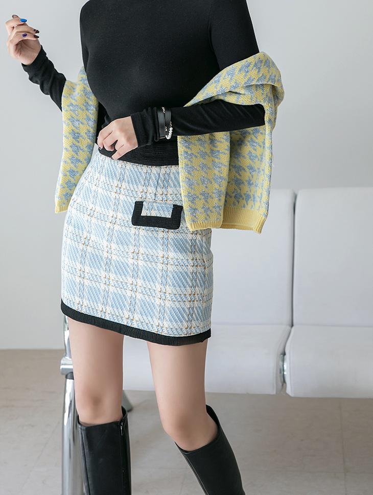 SK2203 斜纹软呢配合格纹松紧微型裙
