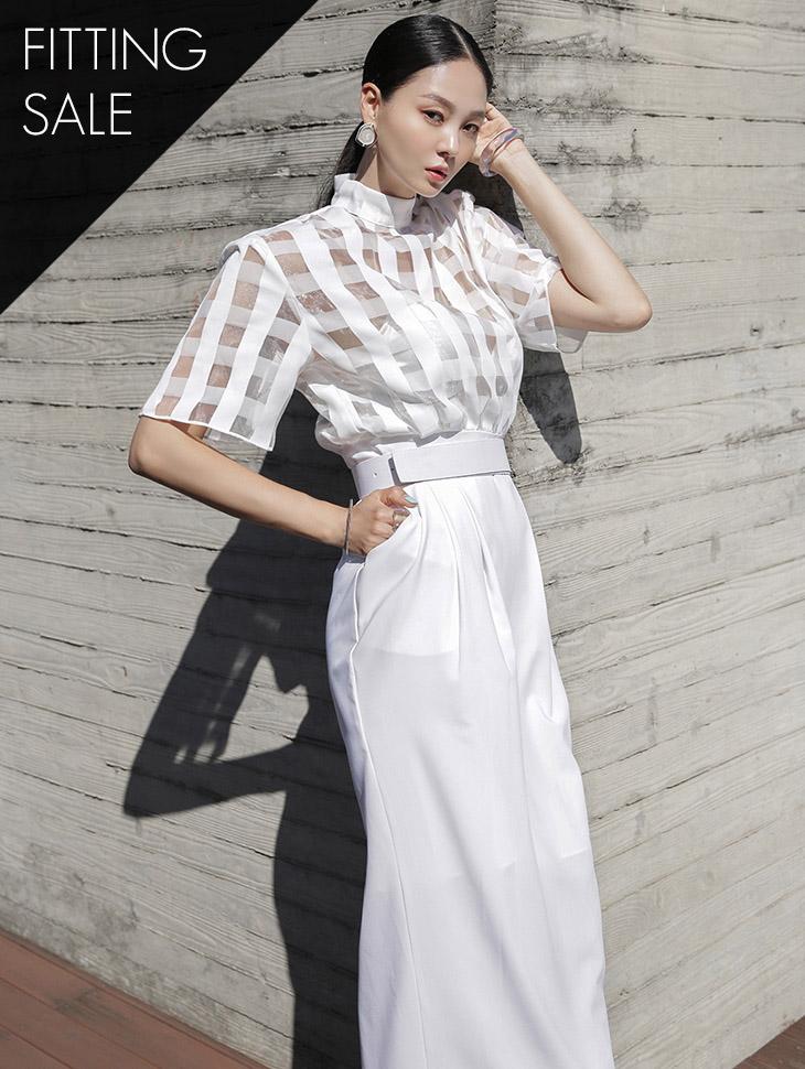 PS2295 方形透视配色中长连衣裙(腰带组合)*试穿优惠*