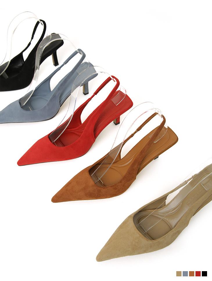 AR-2854 羊羔皮细跟高跟鞋露跟鞋高跟鞋女式无带轻便鞋
