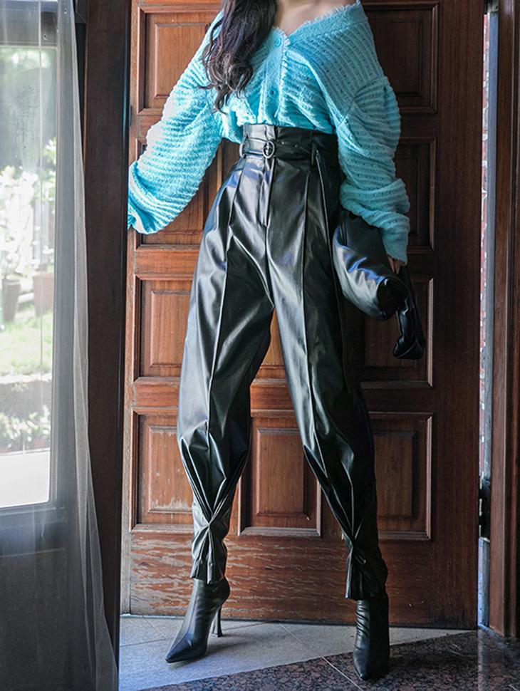 P2321 皮革高腰细褶两用裤(腰带组合)(3rd REORDER)