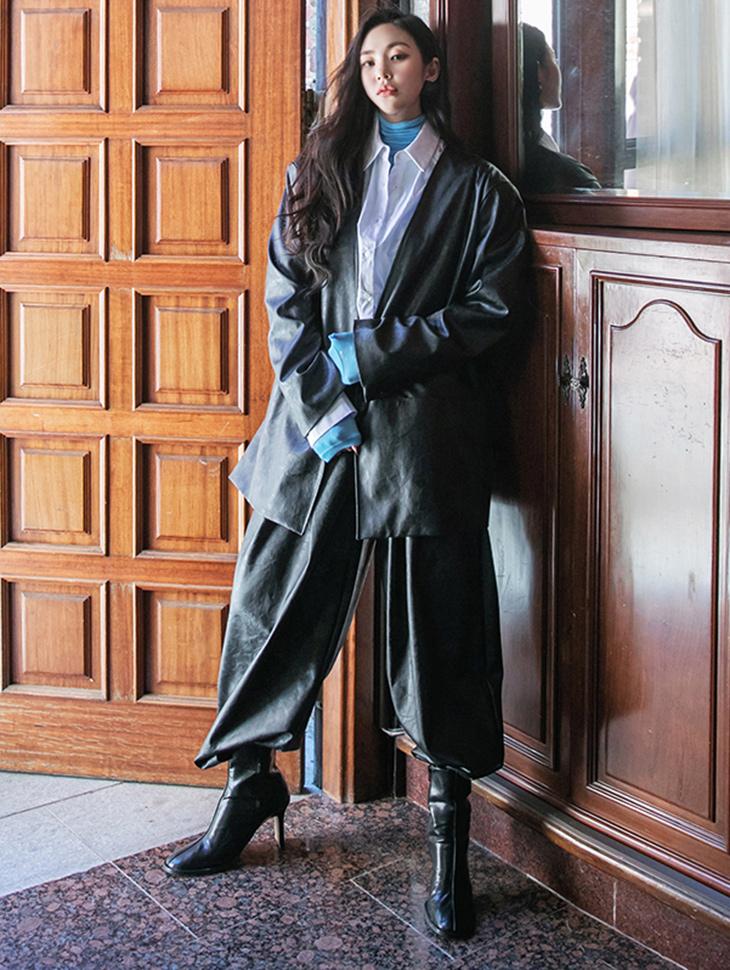 TP1300 皮革无领宽裕简约夹克两件式套装组合*组合5%*
