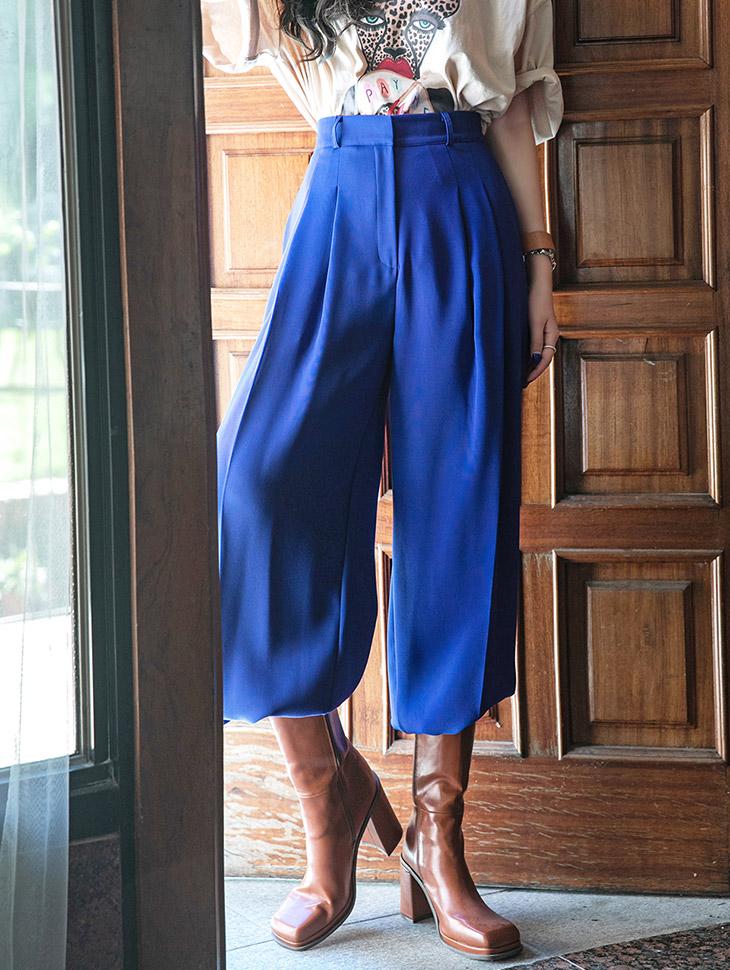 P2504 色彩细褶宽裕长款宽松裤