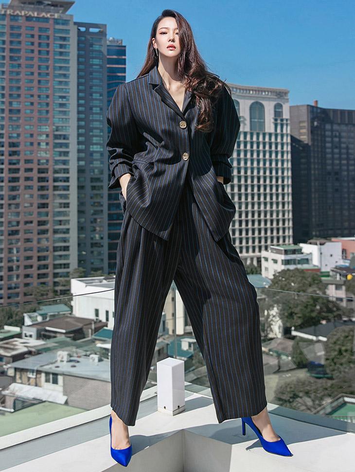 TP1301 条纹金色钮扣泡泡肩垫简约夹克两件式套装 组合*组合 5%*