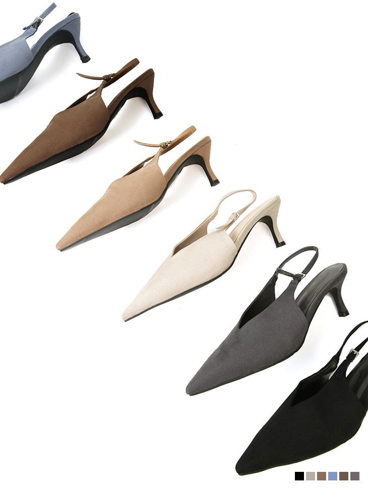 AR-2861 细跟高跟鞋露跟鞋中跟女式无带轻便鞋