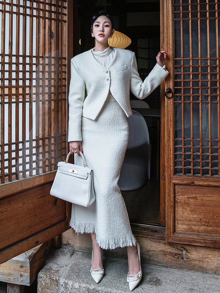 TP1305 斜纹软呢珍珠钮扣露脐夹克两件式套装组合*组合 5%*