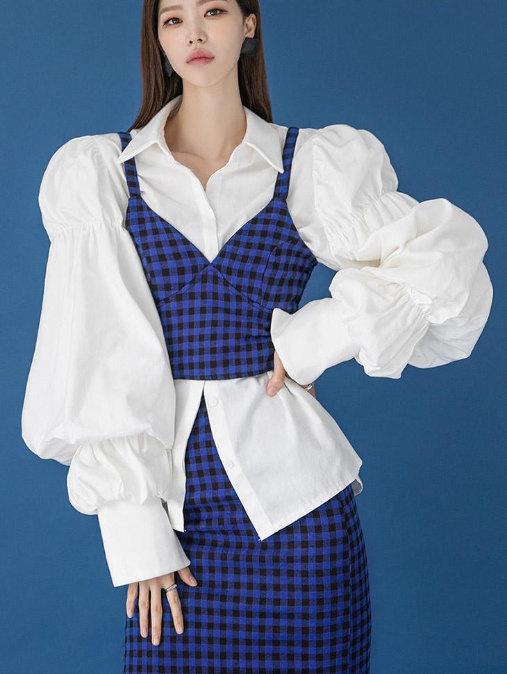 S453 棉褶皱双袖口泡泡衬衫