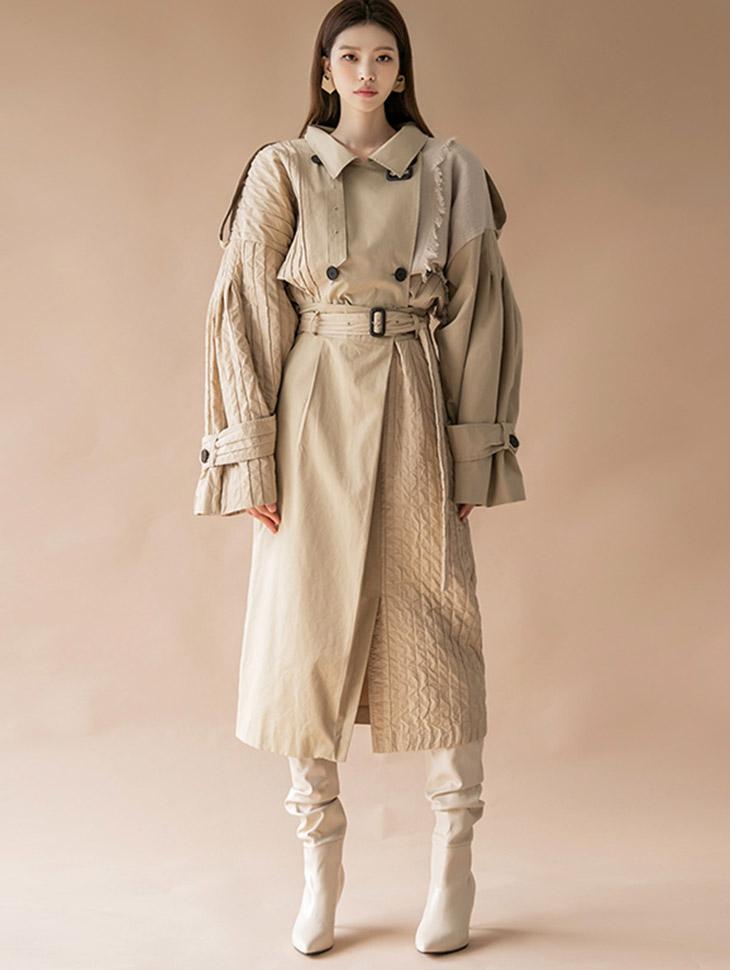 TP1308 棉褶皱流苏配色风衣露脐夹克两件式套装组合(SKIRT 腰带组合)*组合 5%*