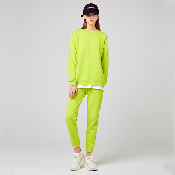 All Day Basic<br> Man to man jogger pants set<br> Lime (male and female)