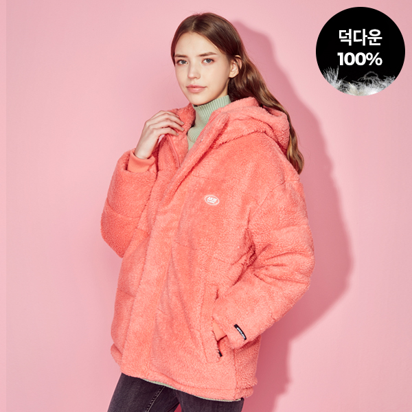 Bucle Fleece Duckdown Jumper<br> Coral (for both men and women)