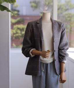 Epilia checked linen 11 jacket<br>
