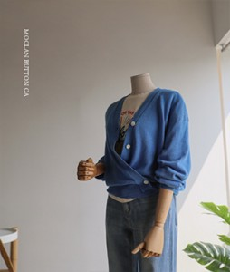 Moclan linen button 76 cardigan<br>