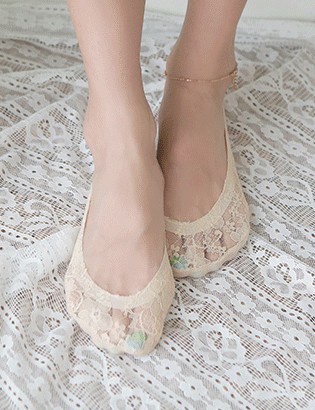 Round flower lace shoes C061450