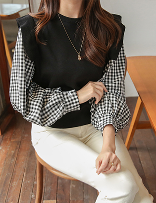Gingham frill knit C010601