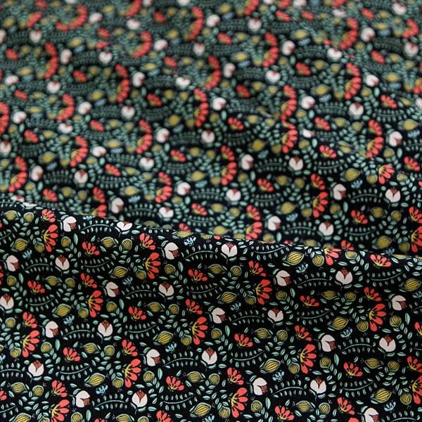"Cotton sheeting-Eco Vintage Flower Black(44"")"