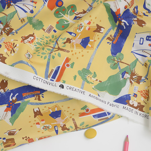 """Cotton sheeting-Happy Camping Yellow(44"""")"""