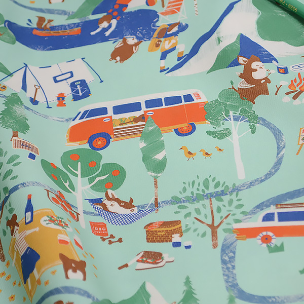 """Cotton sheeting-Happy Camping Mint(44"""")"""