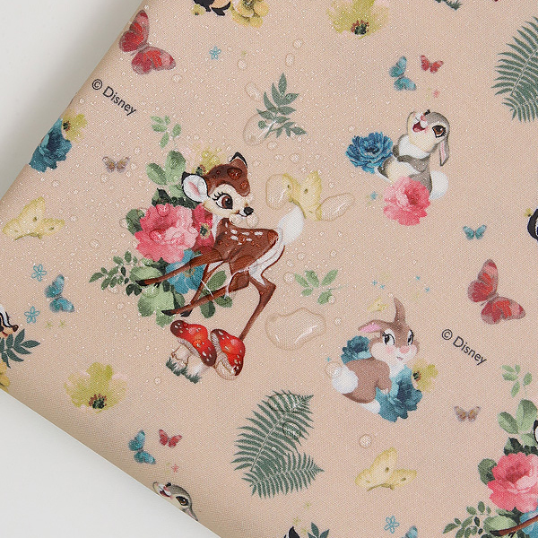 "Laminated Cotton-Disney-Bambi Forest Friends Beige(44"")"
