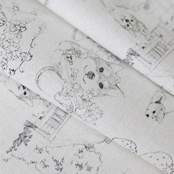 "Linen Cotton-Drawing Shiba(54"")"