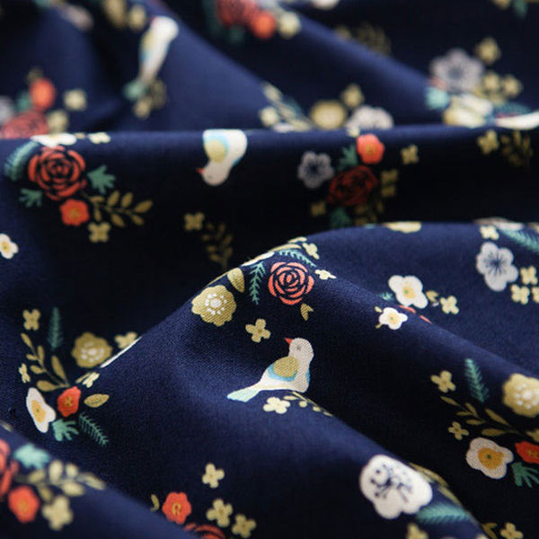 "Cotton sheeting-Secret Garden The Bird Navy(44"")"