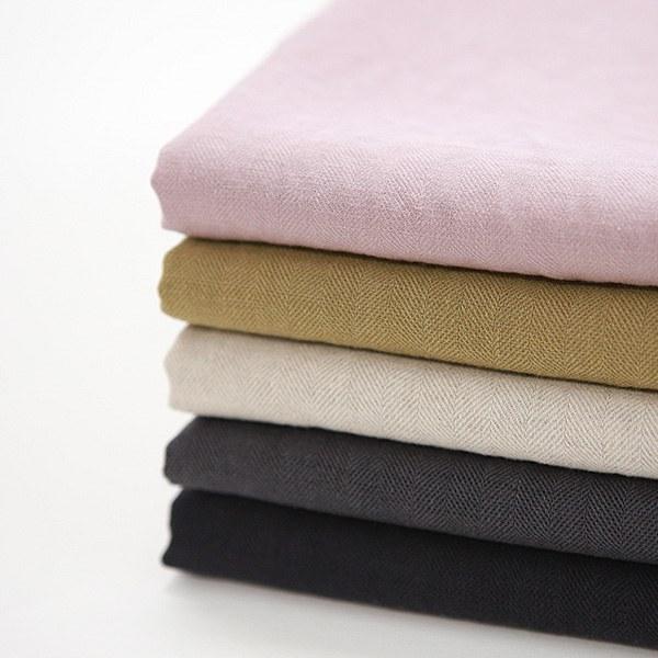 "Washed Linen Cotton-Retro Herringbone, 5colors(52"")"