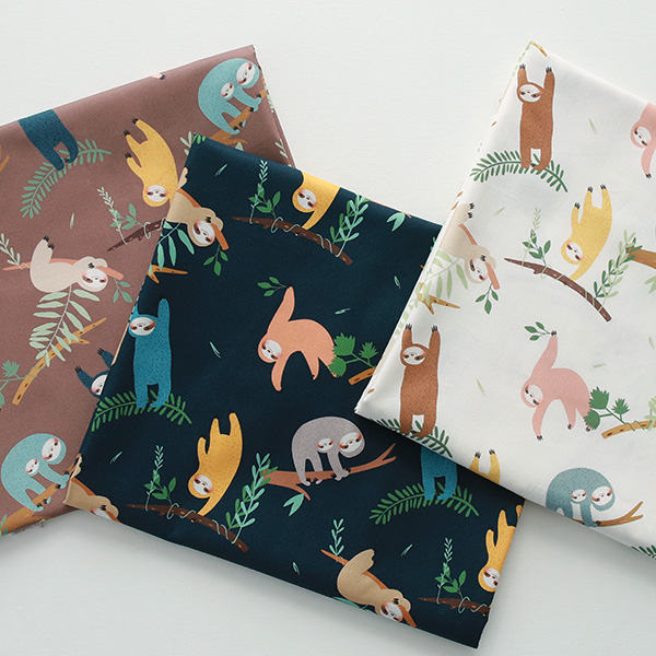 """Cotton sheeting-Forest of Sloths, 3colors(44"""")"""