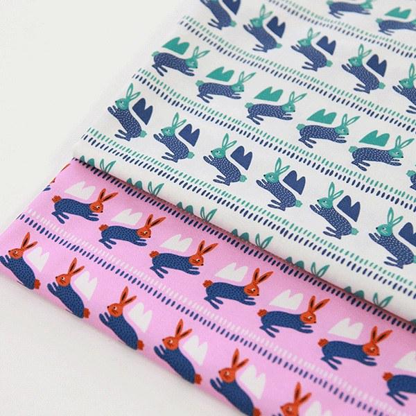 """Cotton sheeting-Mallang Luna Animals Jumping Rabbits(44"""")"""