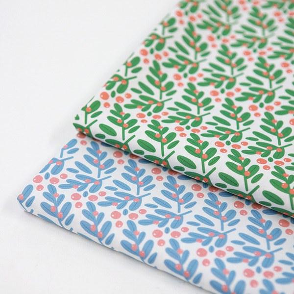 "Cotton sheeting-Mallang Luna, Seasons Spring Leaf, 2colors(44"")"