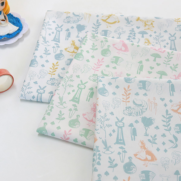 "Cotton sheeting-Disney-Alice Mono Garden, 3colors(44"")"