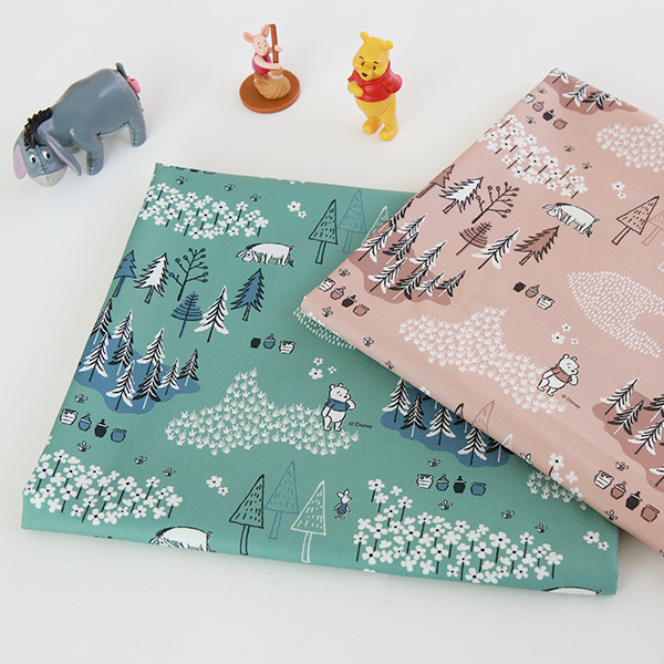 "Cotton sheeting-Disney-Pooh Mild, 2colors(44"")"