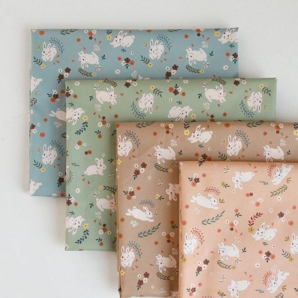 """Cotton sheeting-Floral rabbit, 4colors(44"""")"""