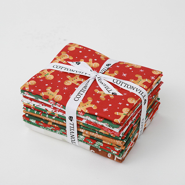 Cotton sheeting-EMANON Happy Christmas Quarter 12pcs+1full Panel Package