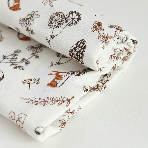 "Organic Double Gauze Cotton-Pure Rabbit(60"")"