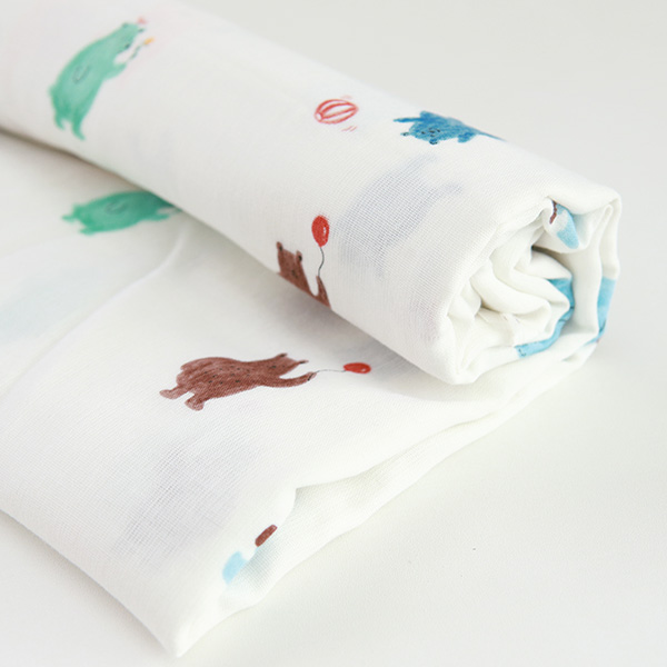 "Organic Double Gauze Cotton-Funny Bear(60"")"