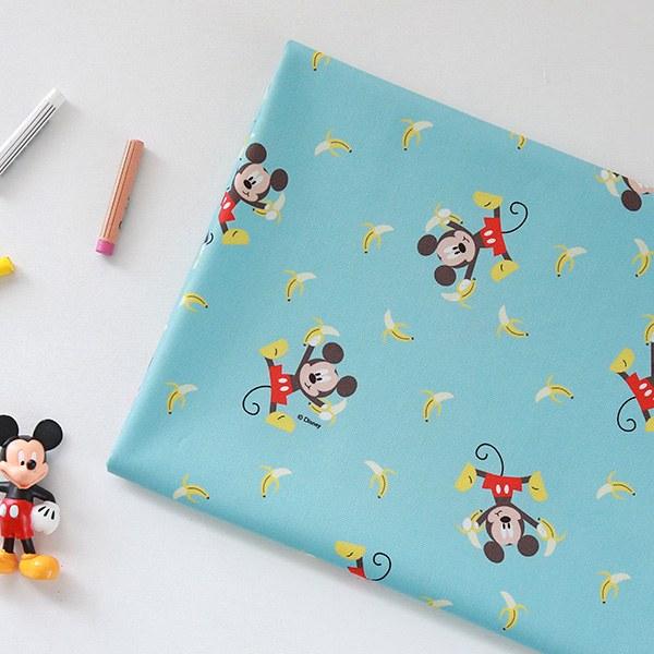 "Cotton sheeting-Disney-Banana Mickey(44"")"