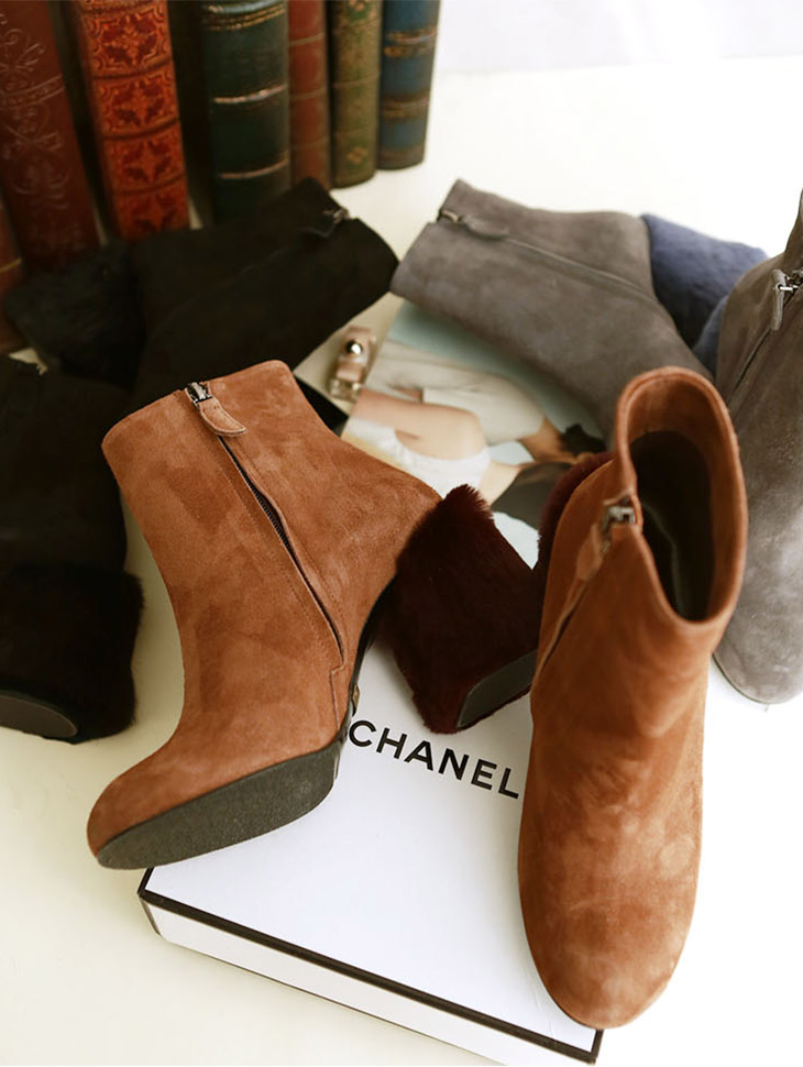 HAR-558 fur point ankle boots heel * HAND MADE *