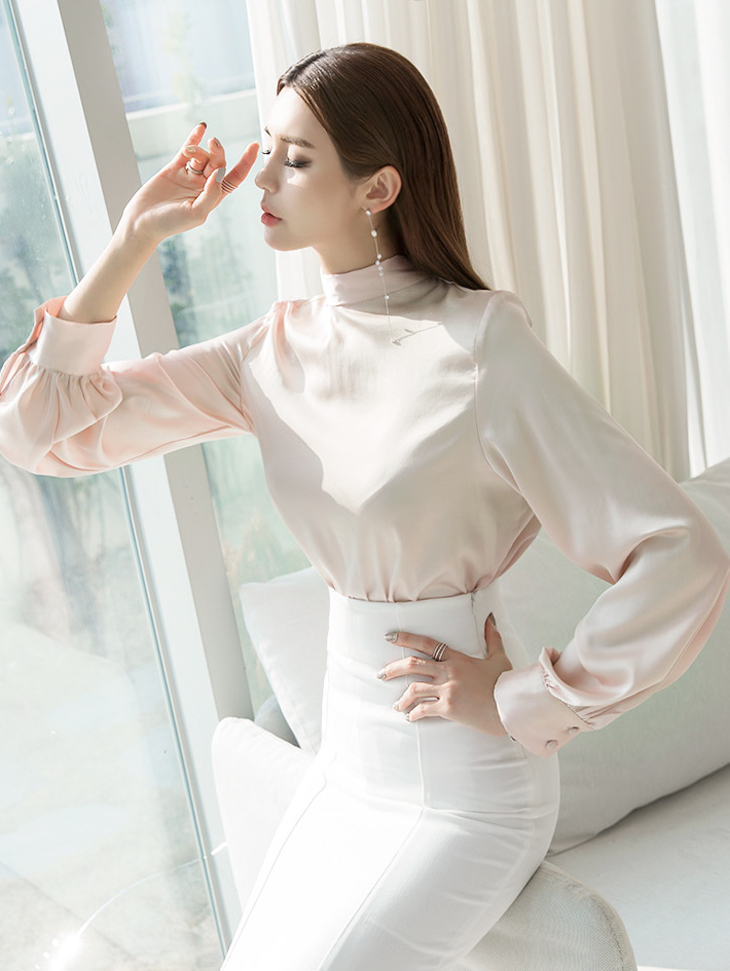 B2359 glossy Scarf blouse(17th REORDER)