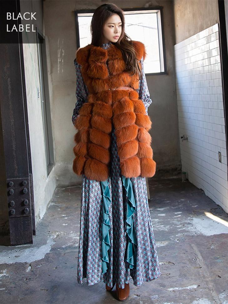 J-4782 fox fur vest(Belt set) *BLACK LABEL*