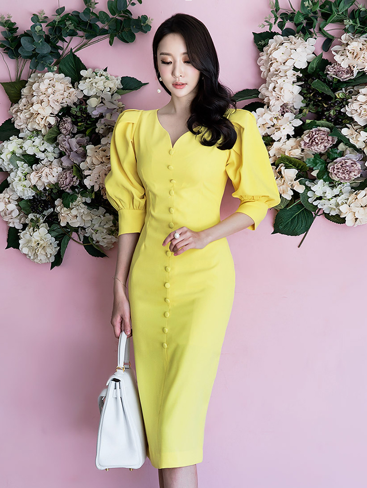 D3522 Wave Puff Slim medium Dress(119th REORDER)