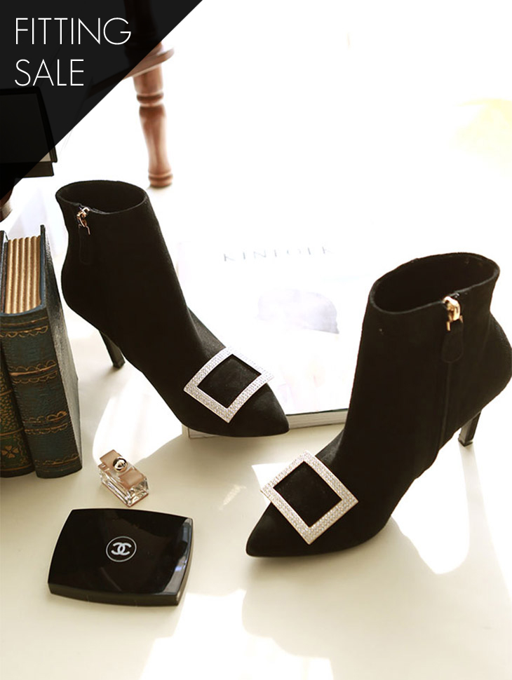 PS1519 Square cubic ankle boots heel * HAND MADE ** Fitting sale *