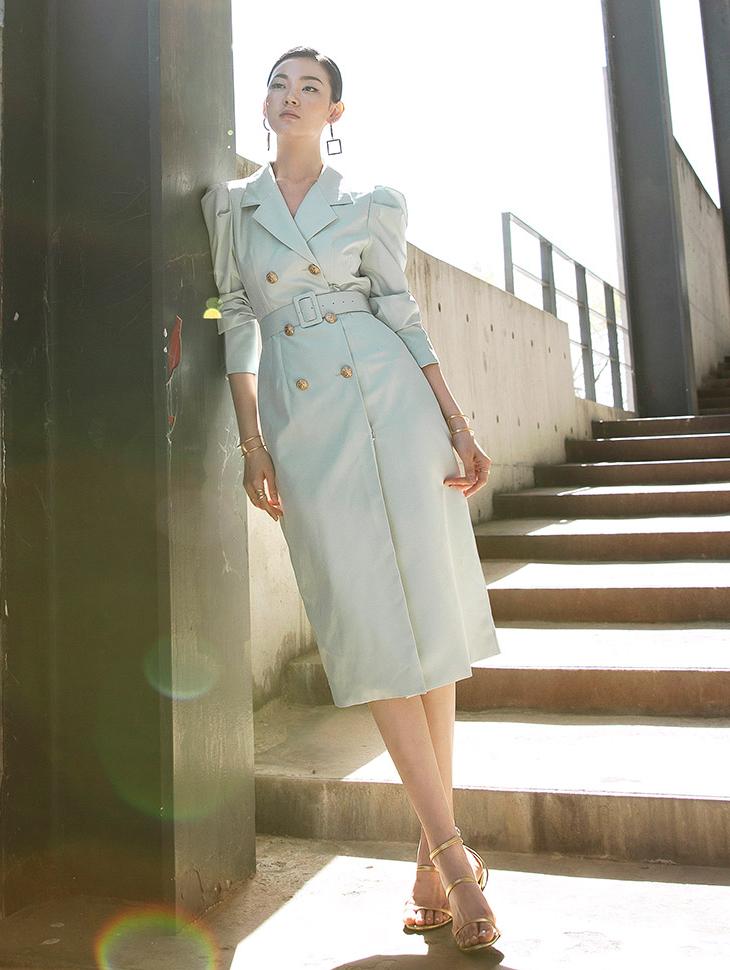 D3777 Gold Double Button medium Dress(Belt set)*Can be worn as a Outer*(50th REORDER)