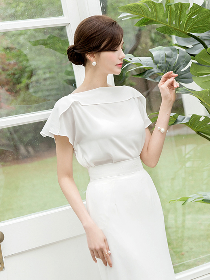B2424 Off fold blouse(46th REORDER)
