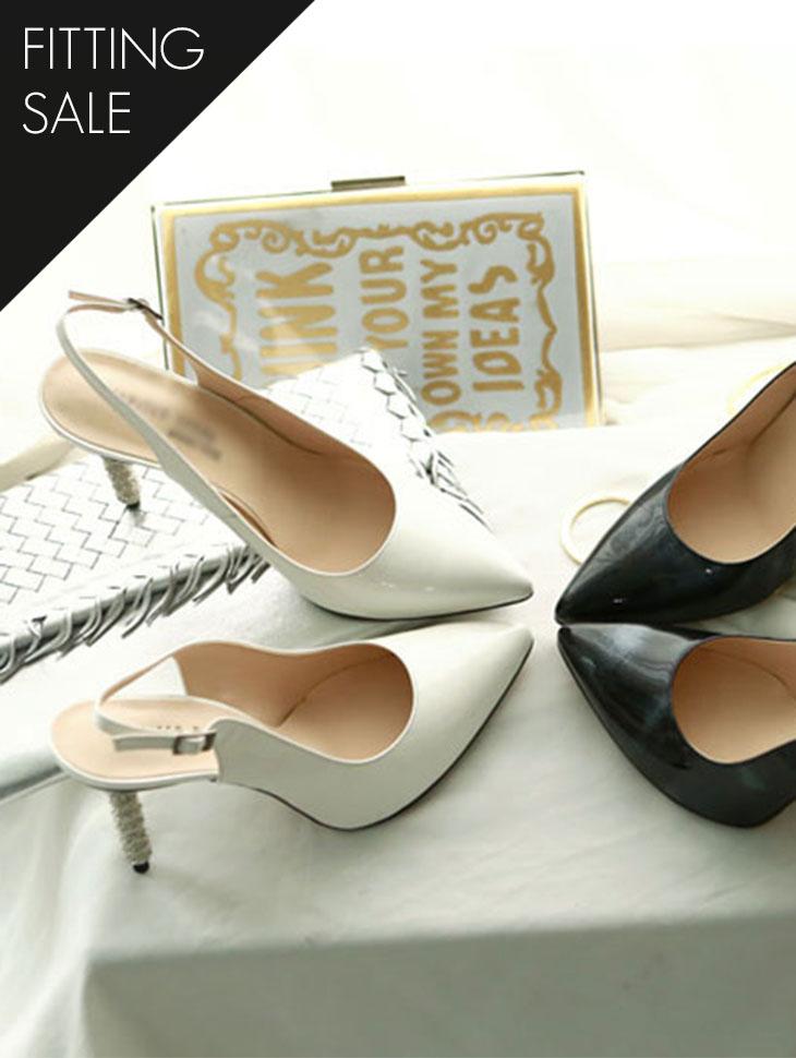 PS1598 chic diamond Sling backs heel * HAND MADE * fitting sale *