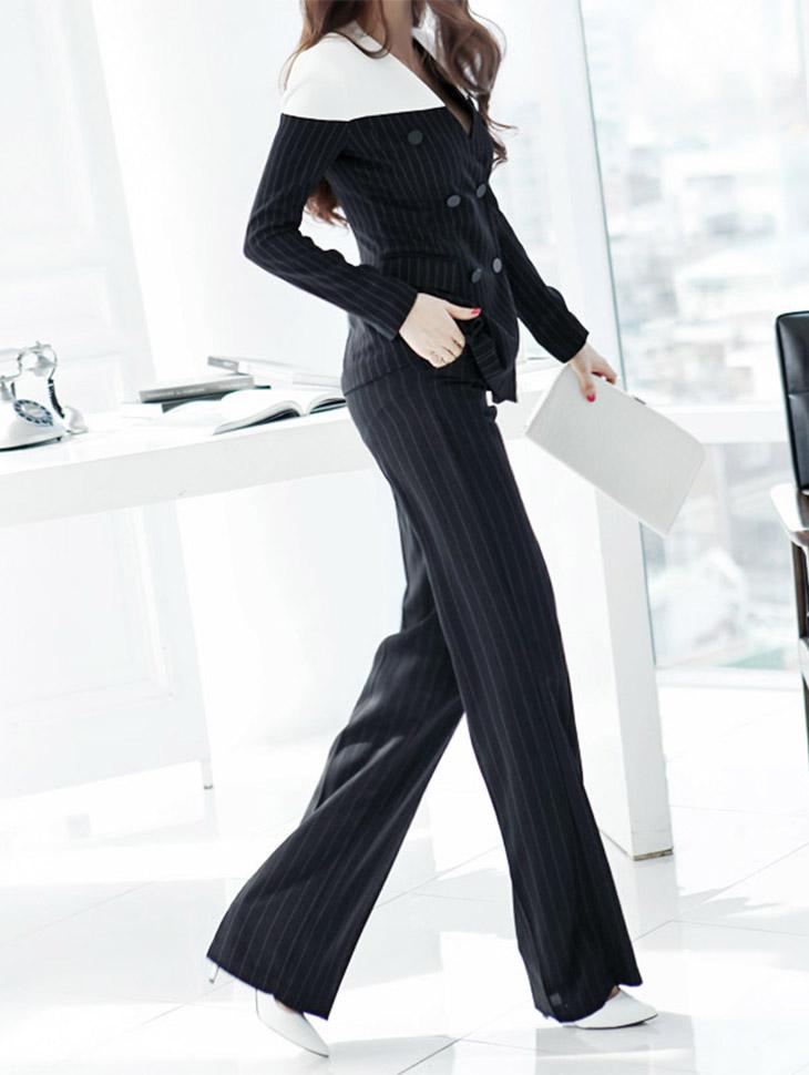 P1191 stripe wide Slacks*L size production*펜트하우스 김소연 착용*(161st REORDER)