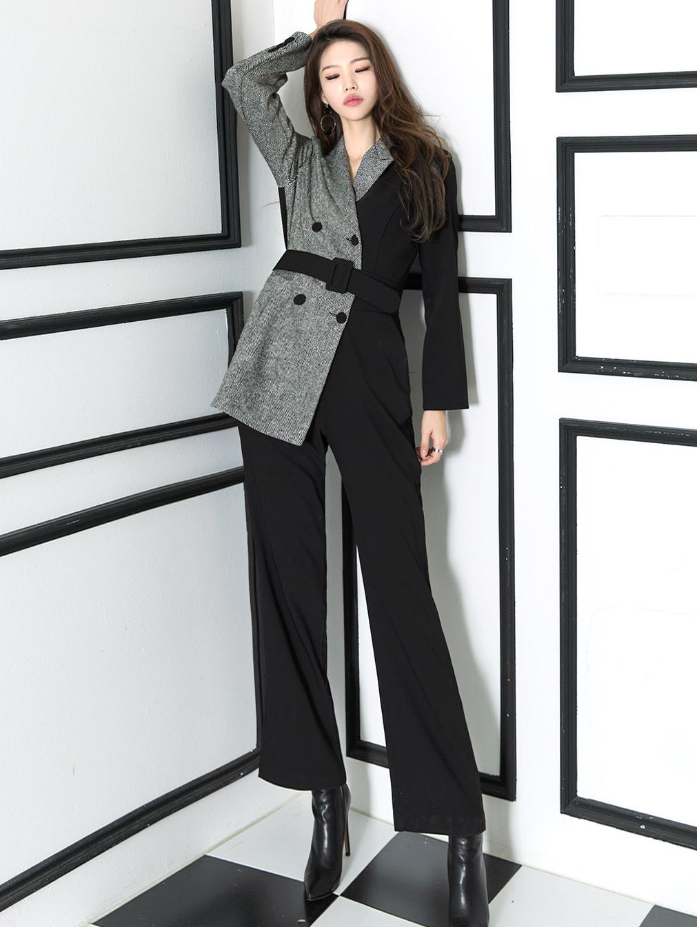 D3708 Half Jacket Line Slim jumpsuit(58th REORDER)