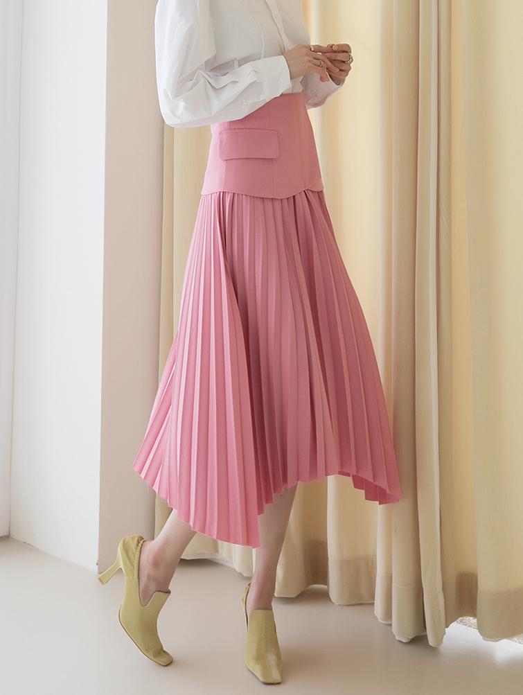 SK2032 unique pleats medium skirt(16th REORDER)