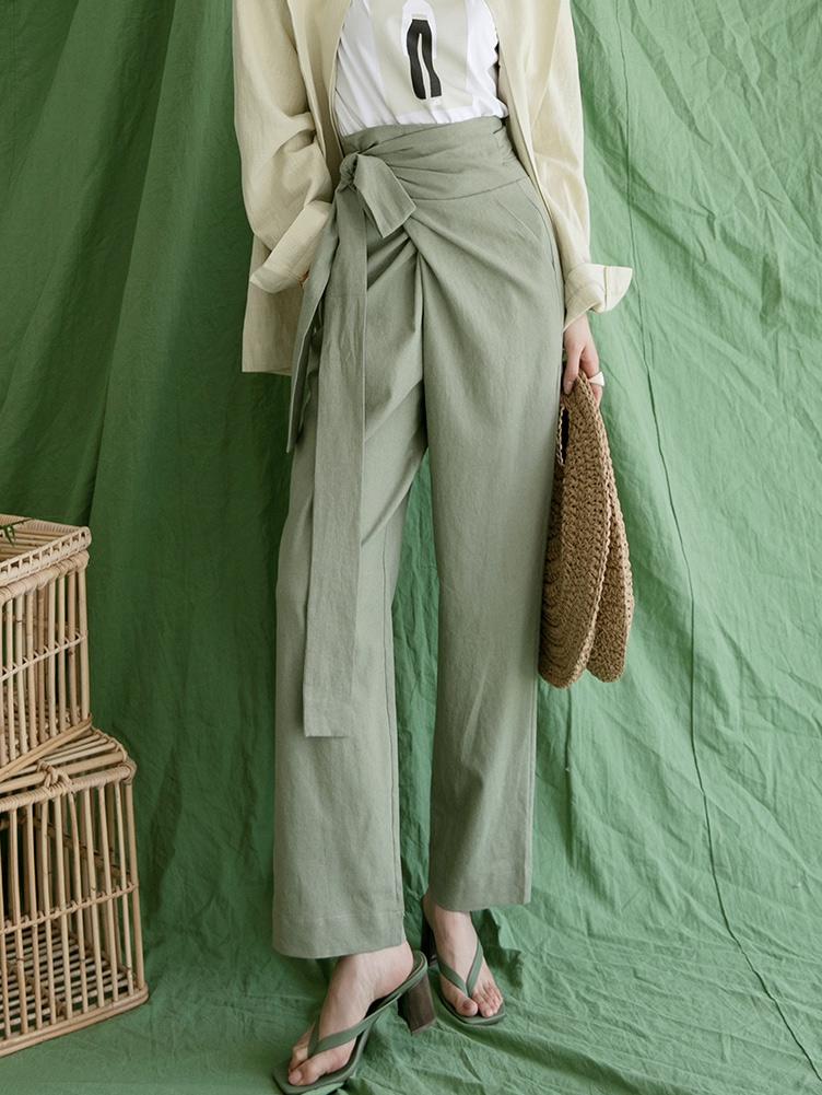 P2250 High Waist Linen warp wide pants(27th REORDER)
