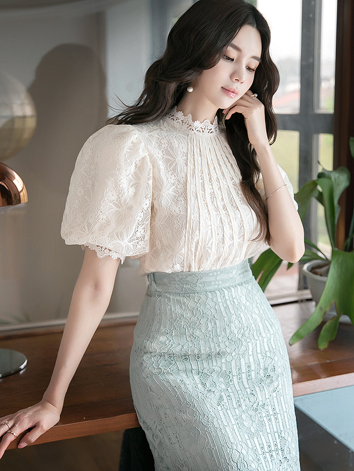 B2586 리베카 Lace Puff Sleeve blouse(92rd REORDER)