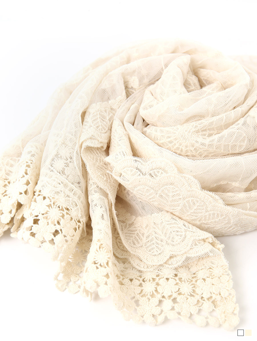 AS-1444  Lace embroidery Scarf(23rd REORDER)