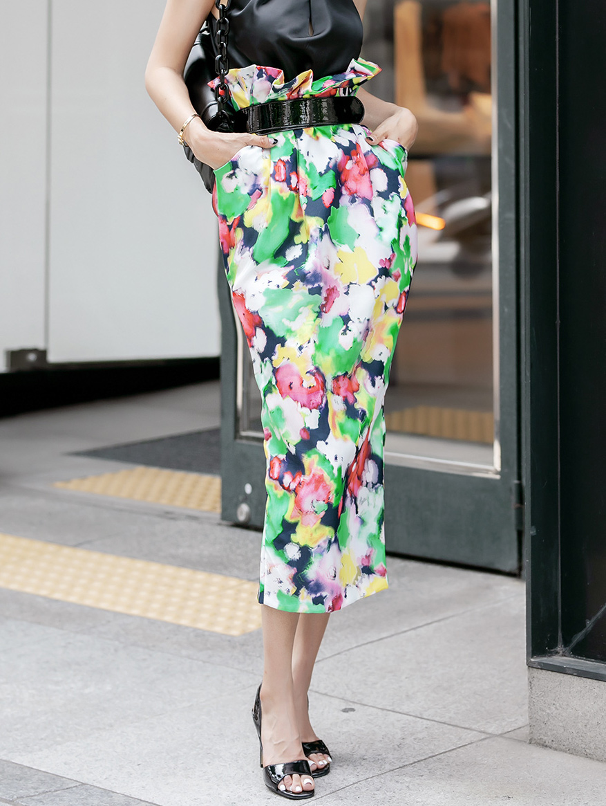 SK9078 water Printing Long skirt(Belt set)